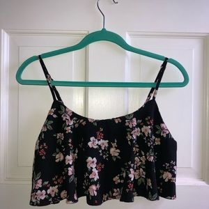 Forever 21 floral ruffle crop top, size medium
